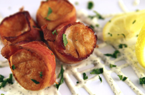 1-Bacon Wrapped Scallops With Champagne Sauce